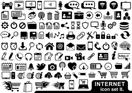 Internet Icon Set in Black Color - Illustrations for Your Projects, Vector Ilustração