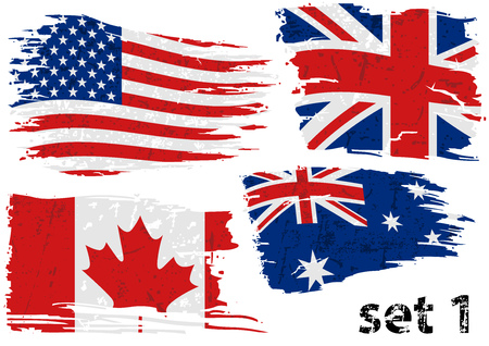 Torn Flag USA, Great Britain, Canada and Australia - Colored Abstract Illustrations, Vector