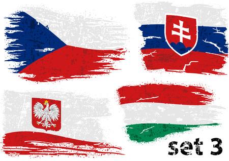 Zerrissene Flagge Tschechien, Slowakei, Polen und Ungarn - Farbige abstrakte Illustrationen, Vektor