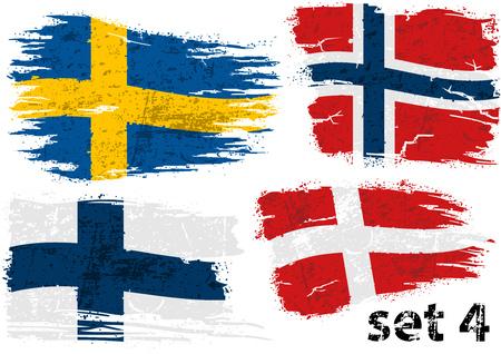 Zerrissene Flagge Schweden, Norwegen, Finnland und Dänemark - farbige abstrakte Illustrationen, Vektor Vektorgrafik