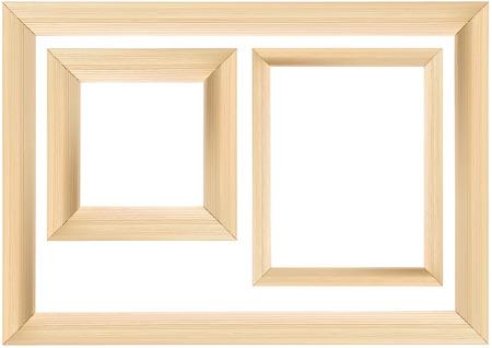 Ensemble de cadre en bois isolé sur fond blanc - Illustration détaillée, vecteur