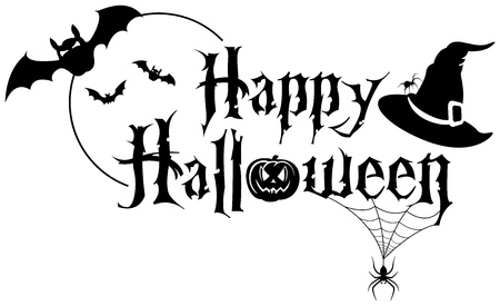 Happy Halloween Text Banner - Black and White Illustration with Spider, Baths and Witch Hat on White Background, Vector