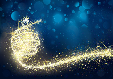 Abstract Golden Christmas Bauble in Blue Bokeh Night - Xmas Background Illustration, Vector