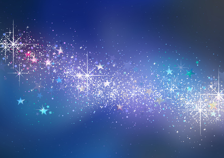 Colorful Christmas Glittering Background with Stars and Stardust - Abstract Illustration, Vector 일러스트