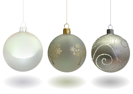White Christmas Ball Set for Your Project - Xmas Ornament with Glossy Golden Pattern and Glitters Decorative Vine Shapes and Pearly White Bauble, Vector