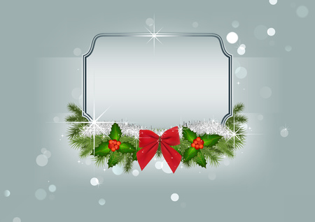 Christmas Background with Ornaments and Silver Frame over Winter Background with Bokeh Effect - Festive Illustration, Vector 일러스트