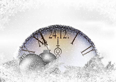 Christmas Time Background with Snowy Clock and Silver Christmas Branches with Silver Baubles - Festive Illustration, Vector