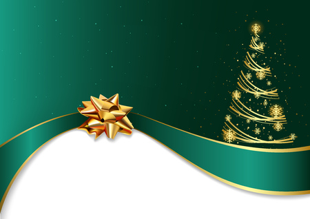 Green Christmas Background with Golden Bow and Abstract Christmas Tree - Festive Illustration, Vector
