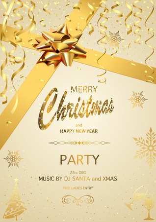 Christmas Party Invitation on Gold Background with Golden Glittering Inscription, Golden Bow and Ribbon and Golden Confetti - Vector Illustration  イラスト・ベクター素材