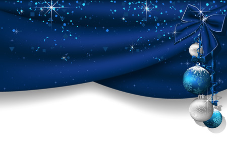 Christmas Background with Blue Curtains and Hanging Christmas Baubles with Falling Confetti and Blue Bow - Festive Illustration, Vector