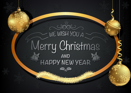 Dark Christmas Greeting Card with Golden Decoration - Black Background with Hanging Gold Baubles and Gold Elliptical Frame, Vector Illustration