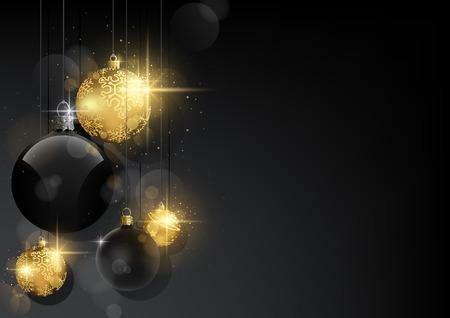 Fondo de Navidad oscuro con adornos negros y dorados - Fondo abstracto negro con efecto Bokeh y efecto brillante, ilustración vectorial