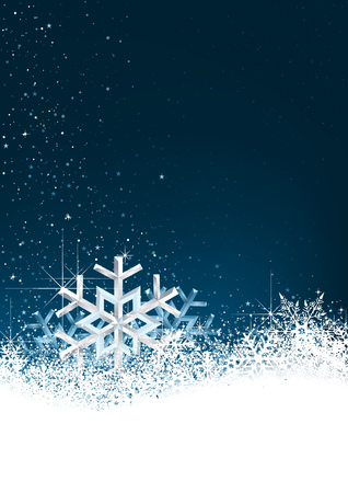 Christmas Background with Snow Crystals - Abstract Winter Illustration, Vector 일러스트