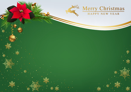 Green Christmas Background with Golden Snowflakes and Golden Inscription with Wave Lines and Poinsettia with Fir Branches - Abstract Illustration, Vector