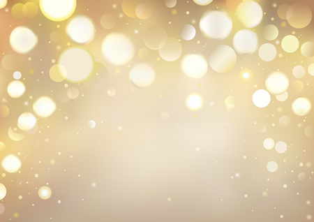 Golden Bokeh Background with Sparkling Lights - Festive Illustration for Your Merry Christmas, Happy New Year, Birthday or Different Holidays Project, Vector