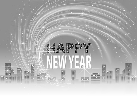 Grayscale Happy New Year Background with City Skyline and Lightning Glittering Effects on Sky - Abstract Illustration, Vector