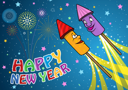 Happy New Year Background with Cartoon Firework Rockets - Cheerful Festive Child Illustration, Vector Stock Illustratie