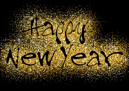 Happy New Year Greeting with Gold Glitters on Black Background - Festive Illustration, Vector