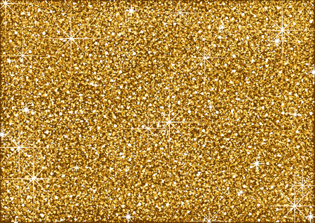 Shining Golden Glitter Background with Stars - Metallic Colored Illustration for Your Graphic Design, Vector Vektorové ilustrace