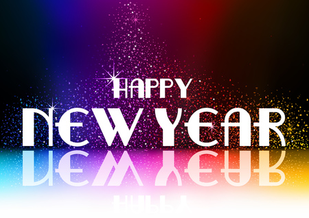 Happy New Year Greeting with Falling Glitters on Dark Background with Rainbow Glow - Abstract Illustration, Vector