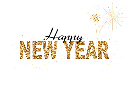 Happy New Year Gold Glitter Design for Greeting Card, Festive Poster or Website Design - Abstract Colored Illustration, Vector