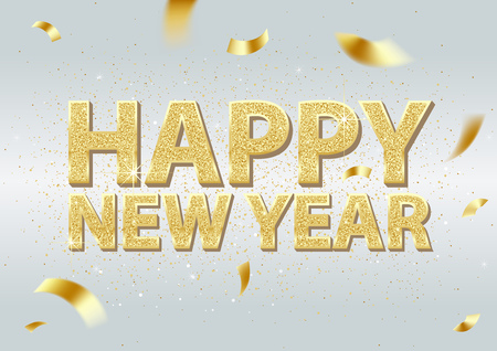 Golden Happy New Year Inscription and Falling Golden Confetti on Light Background with Glitters - Colored Festive Illustration, Vector