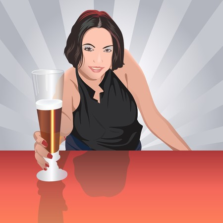 Pretty Barmaid Serving a Beer - Colored Illustration, Vector 向量圖像