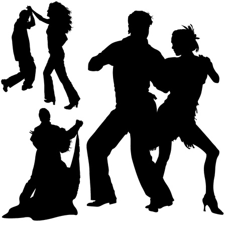 Dance Silhouettes - Black Illustrations And Classic Dance, Vector