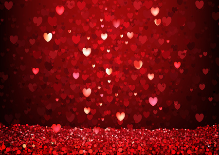 Red Glittering Hearts Background - Valentines Day Greeting Card or Red Abstract Love Illustration, Vector