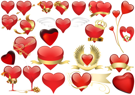 Big Set of Red Heart - Detailed Illustrations for Your Graphic Design, Vector