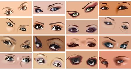 Augen-Make-up-Set - Große Sammlung von Frauengesichtern mit 16 Illustrationen, Vektor