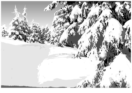 Painted Winter Landscape with Snowy Conifers - Mountain Snowy Illustration, Vector