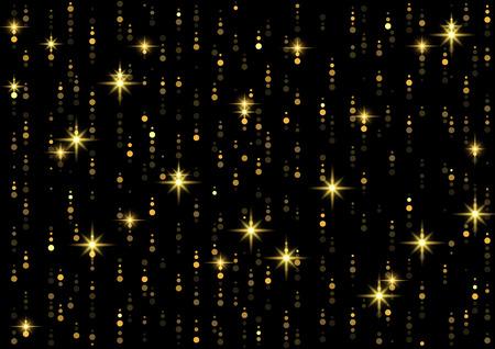 Sparkling Golden Rain Background - Falling Starry Lights on Black, Abstract Vector Illustration Vektorové ilustrace