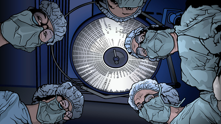Team Doctors in the Operating Room - Colored Illustration with Medical Theme, Vector Graphic