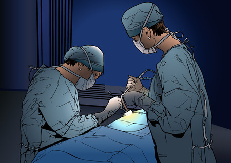 Two Woman Doctors in the Operating Room - Colored Illustration with Medical Theme, Vector Graphic