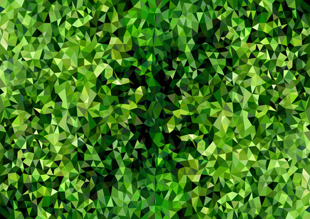 Abstract Polygonal Background Texture Green Foliage - Mosaic Structure with Natural Character, Vector Illustration