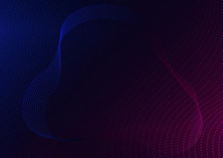 Abstracte rood-blauwe lijnen en gestippelde golven op zwarte achtergrond - moderne tech futuristische illustratie, Vector