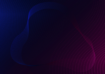 Abstract Red-Blue Lines and Dotted Waves on Black Background - Modern Tech Futuristic Illustration, Vector