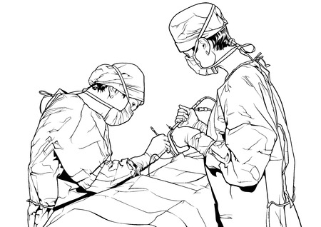 Team Doctors in the Operating Room - Black and White Illustration with Medical Theme, Vector Graphic