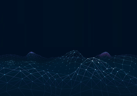 Abstract Technology Background with Network Connection - Wireframe Structure on Dark Blue, Vector Illustration Ilustrace