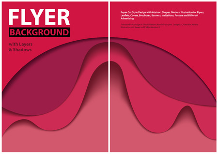 Modern Flyer Paper Cut Style Design with Red Layers - Graphic Illustration with Abstract Shapes, Vector