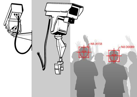 Detección de rostros con sistema de cámara - CCTV Vigilancia Cámara de seguridad Equipo de video en poste Sistema de seguridad para edificios al aire libre Control de área - Ilustración vectorial