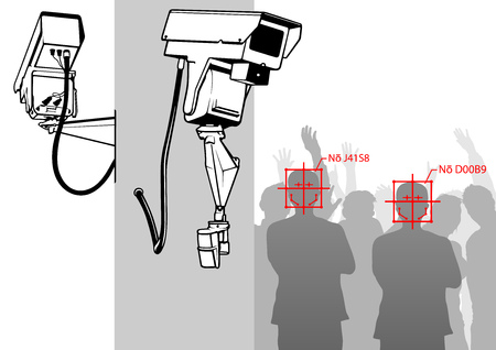 Face Detection with Camera System - CCTV Surveillance Security Camera Video Equipment on Pole Outdoor Building Safety System Area Control - Vector Illustration Ilustrace