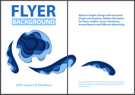 Modern Flyer Paper Cut Style Design with Blue Layers - Graphic Illustration with Abstract Shapes on White Background, Vector