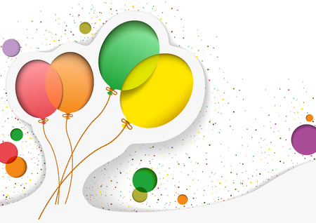 Birthday Card with Balloons in the Style of Cutouts - Greeting Background Illustration, Vector Graphic