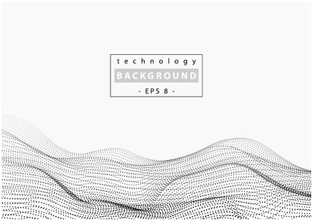 Wave Technology Background with Connecting Dots - Black and White Abstract Illustration, Vector Graphic