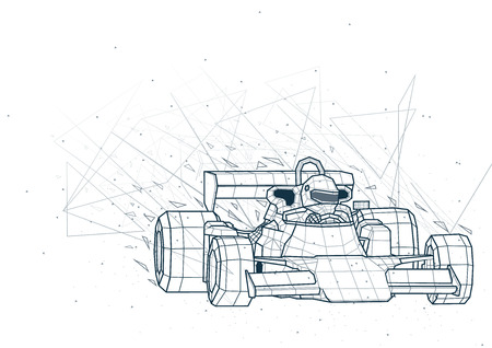 Abstract  racing car from Low Poly Wireframe Isolated on White Background - Polygonal Image Mash Line Structure, Vector Illustration Ilustrace