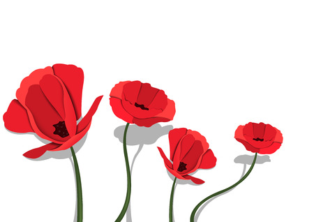 Red Paper Flowers on White Background - Happy Spring Illustration for Your Graphic Project, Vector