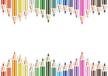 Colorful Pencils in Cutout Style on White Background with Three-dimensional Shadows - Abstract Colored Illustration, Vector Illustration