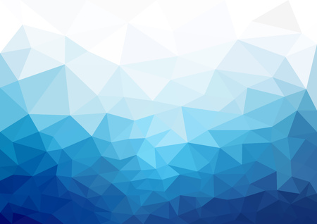Geometric Blue Cold Texture Background - Mosaic Triangular Pattern in Blue Tones for Your Graphic Illustration, Vector